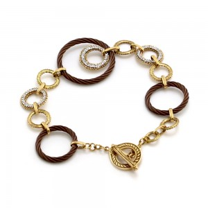 Charriol Celtique Pave Diamond Gold and Iron Open Link Bracelet