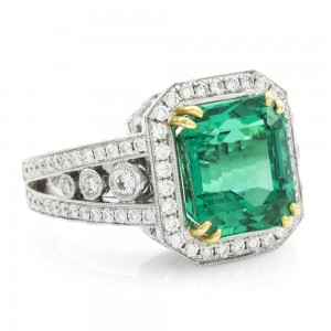 Emerald Cut Colombian Emerald Ring w/ Pavé Diamonds & Migrain Details in 18K White Gold