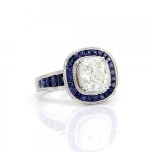 Cushion Diamond Solitaire and Blue Sapphire Halo Engagement Ring in Gold, GIA Certified Solitaire