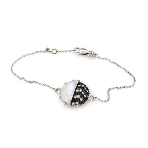 e9f86045664 Laura Medina Moonstone Bracelet with Black and White Diamonds in ...