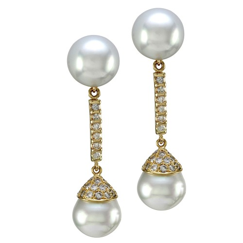 3e744ace8 South Sea Pearl & Pave Diamond Drop Dangle Earrings in 18K Yellow Gold