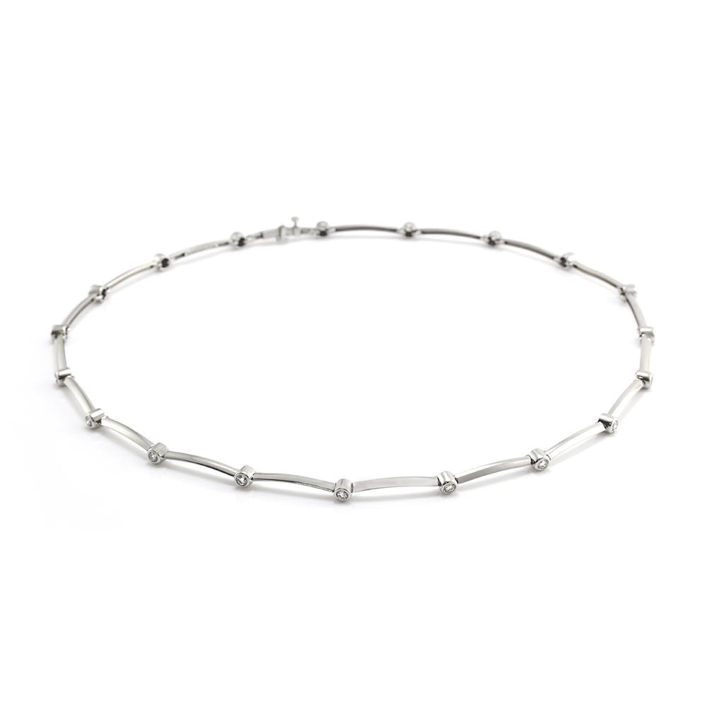 Tiffany Co Diamond Station Necklace In Platinum