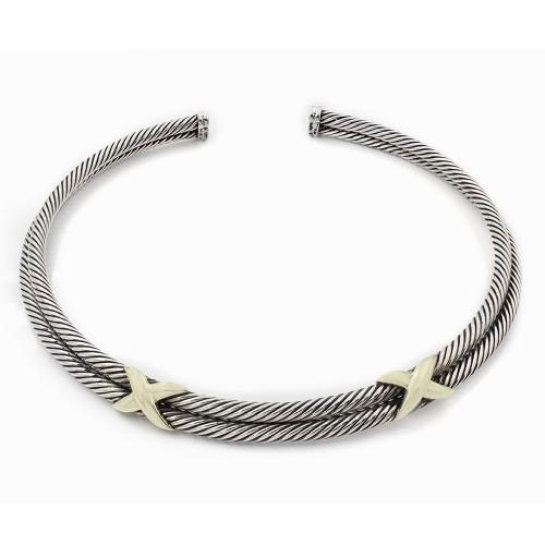 ad925a25fbfea David Yurman SS/14K Cable X Choker Necklace