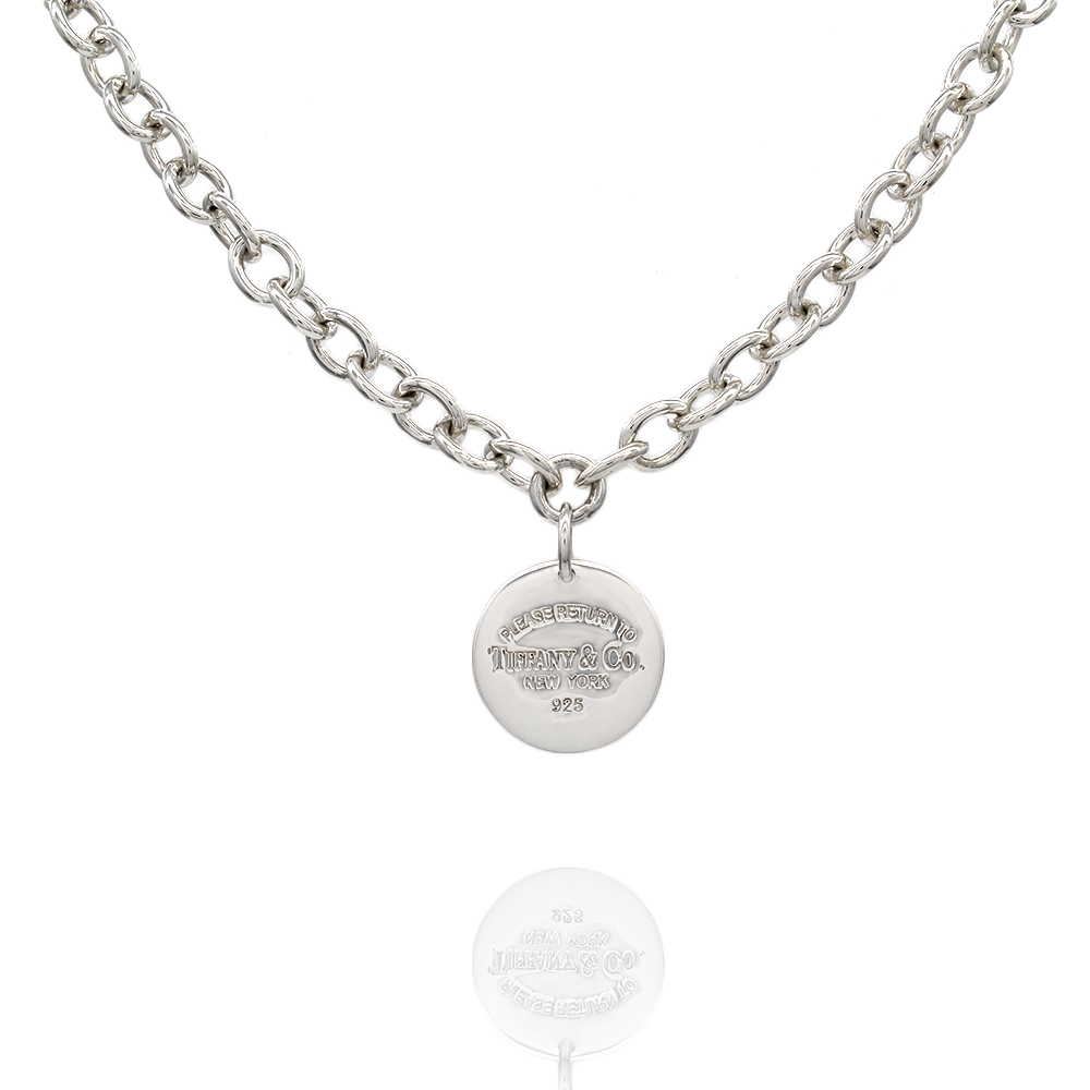 Tiffany Round Tag Necklace In Silver
