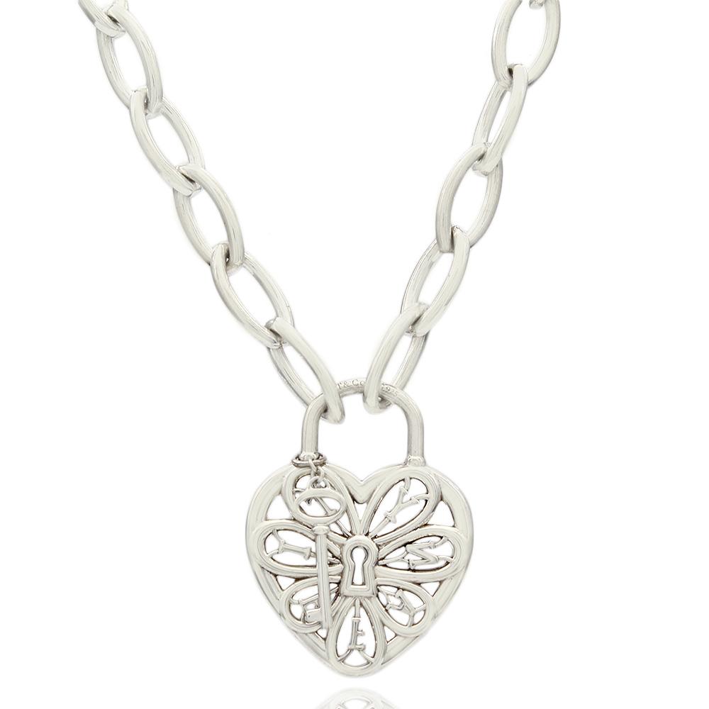 Tiffany Co Ss Heart Lock And Key Necklace
