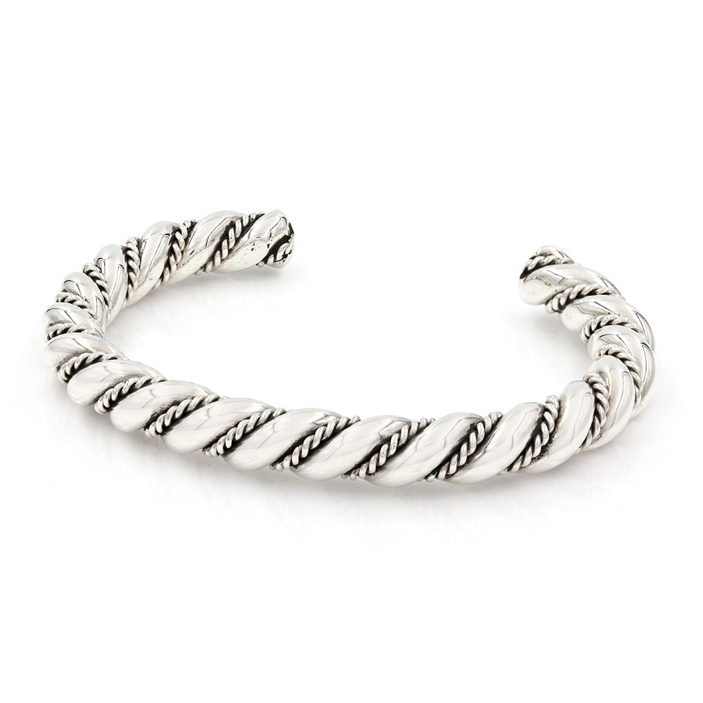 Twisted Cuff Bracelet In Silver