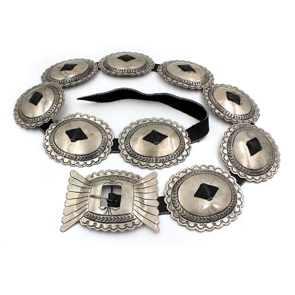 Large Navajo Signed JE Sterling Silver Concho Belt