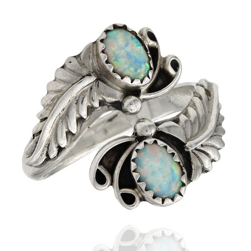 Navajo Running Bear Sterling Silver Opal Ring