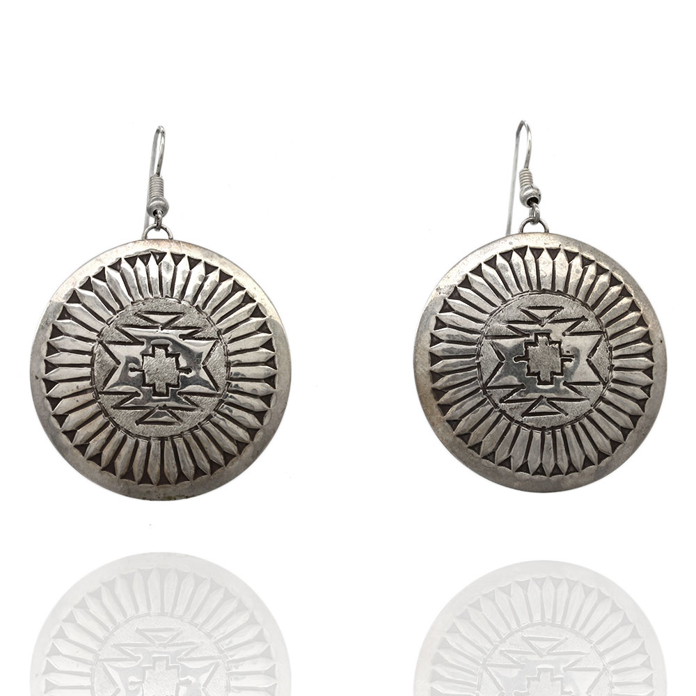 Navajo Sterling Silver Concho Earrings