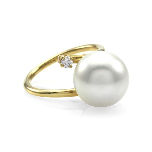 95bedd6bf24c51 South Sea Pearl Bypass Ring w/ Diamond Accents in 14K Yellow Gold