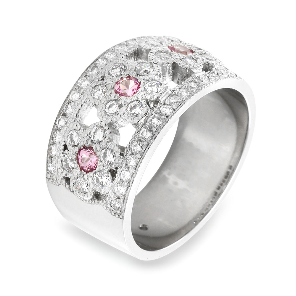 Pave Diamond And Pink Sapphire Flower Ring In Platinum