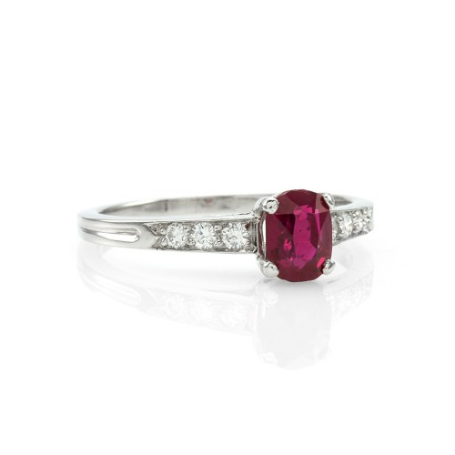 ffb81ca25 Tiffany & Co. Burmese Ruby and Pave Diamond Ring in 900 Platinum
