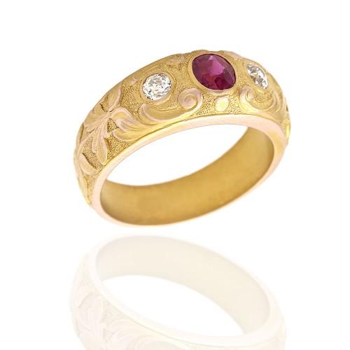ed69581b0 Burmese Ruby and Mine Diamond Ring in Gold