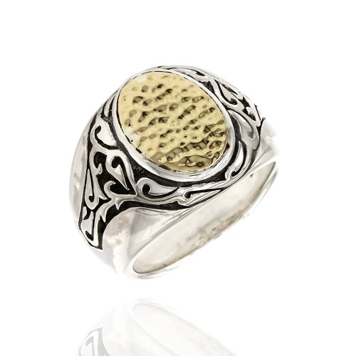 3ab94d9ffd596 Scott Kay Hammered Gold and Silver Ring
