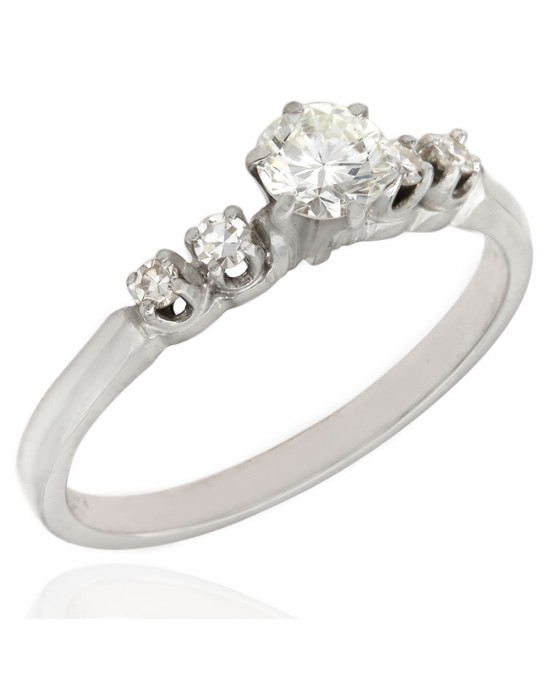 Single Cut Diamond Engagement Ring With Round Diamond Center In 14k White Gold