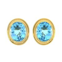 Oval Bezel Set Blue Topaz Button Earrings in High Polished 14K Yellow Gold