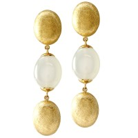 "Signed designer Nanis ""Dancing in the Rain"" Collection Moonstone Drop Earrings in 18K Yellow Gold"