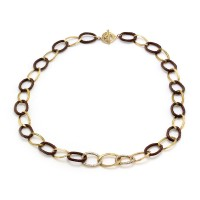 Charriol Celtique Pave Diamond Open Link Gold and Iron Necklace