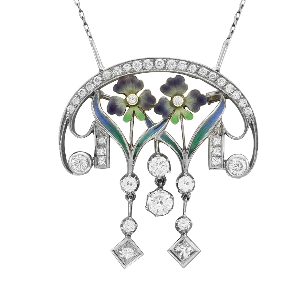 Nouveau 1910 Plique A Jour And Diamond Pin Pendant Arctic Collection Pn1174 Ed Marshall Jewelers In Scottsdale