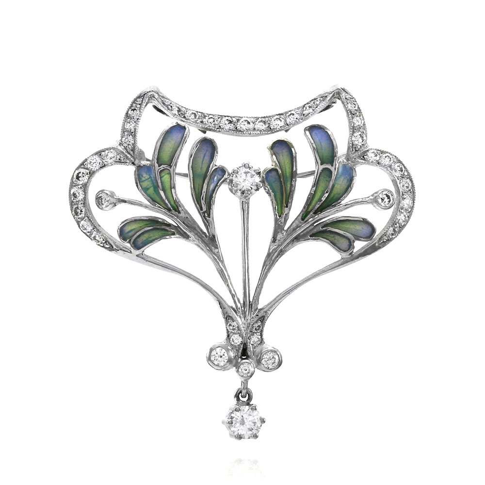 Nouveau 1910 Plique A Jour Diamond Pin Pendant Artic