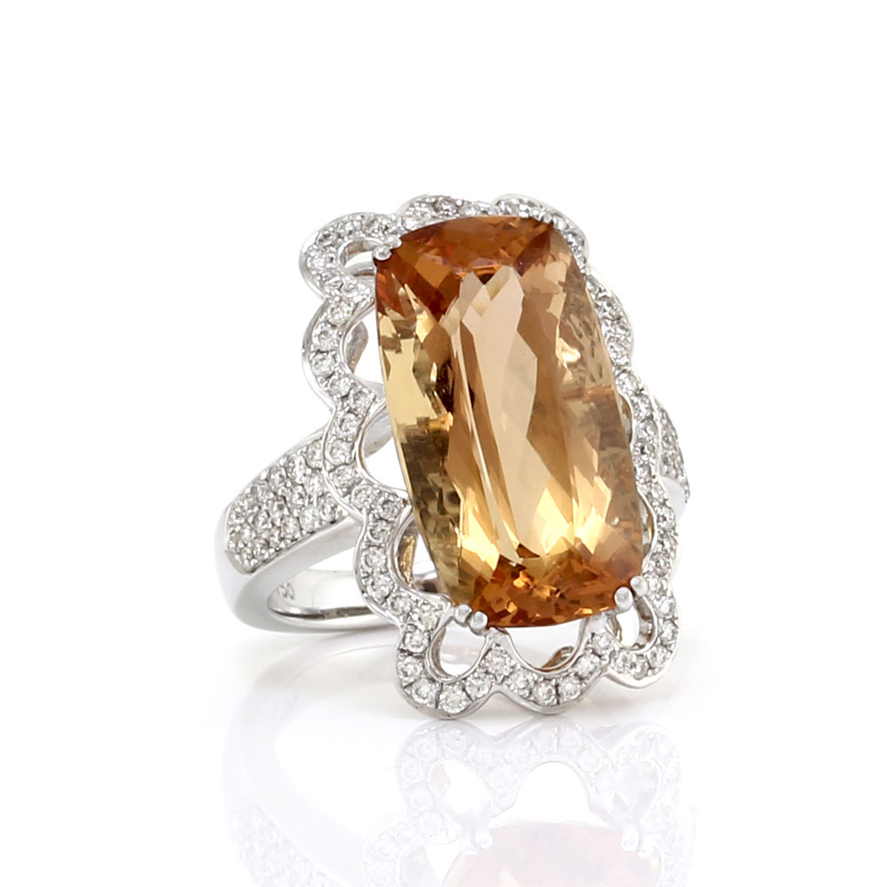 Precious Topaz and Pave Diamond Ring in Gold